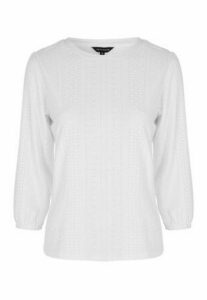 Womens Ivory Jersey Broderie Top