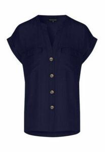 Womens Navy Button Shirt