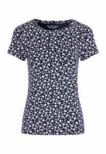 Womens Navy Floral T-Shirt