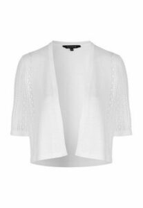 Womens White Crop Pointelle Cardigan