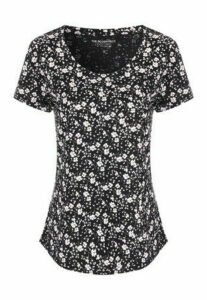 Womens Black Floral T-Shirt