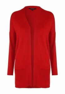 Womens Red Long Line Cardigan