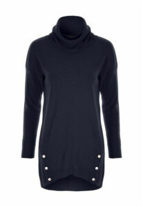 Womens Navy Roll Neck Jumper