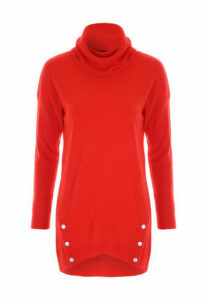 Womens Red Roll Neck Jumper