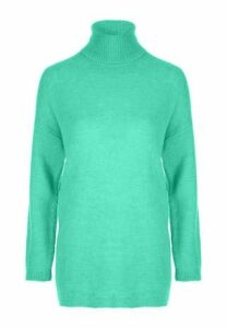 Womens Turquoise Roll Neck Jumper