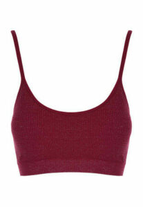 Womens Red Sparkle Seam Free Crop Top