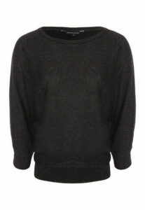 Womens Black Lurex Batwing Jumper