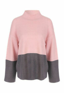 Womens Pink Grey Colour Block Jumper