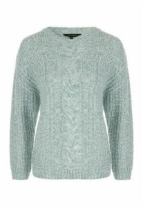 Womens Mint Cable Knit Chunky Jumper