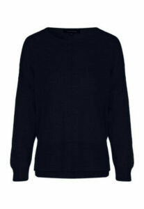Womens Navy Reverse Seam Jumper