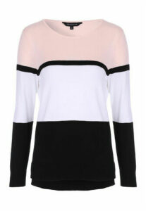 Womens Pink Colour Block Jumper