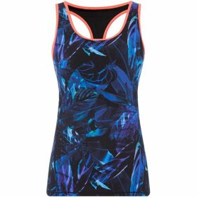 Biba Blue dark jungle mesh gym vest