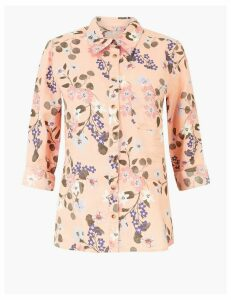 M&S Collection Pure Linen Floral Print Shirt