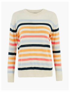 M&S Collection Pure Cotton Striped Relaxed Fit Jumper