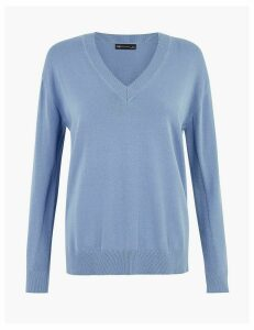 M&S Collection Pure Cotton V-Neck Relaxed Fit Jumper