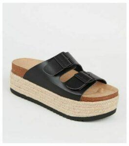 Black Footbed Chunky Flatform Espadrille Sliders New Look