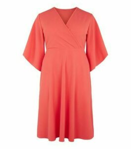 Just Curvy Coral Flutter Sleeve Wrap Dress New Look