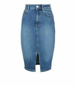 Blue 'Lift & Shape' Denim Pencil Skirt New Look