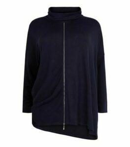 Blue Vanilla Curves Navy Asymmetric Cowl Neck Top New Look