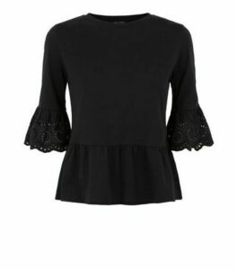Petite Black Broderie Trim Peplum T-Shirt New Look