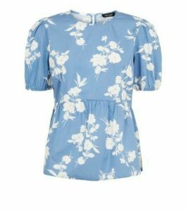 Blue Floral Poplin Puff Sleeve Peplum Top New Look