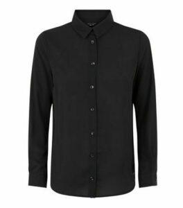 Petite Black Chiffon Long Sleeve Shirt New Look