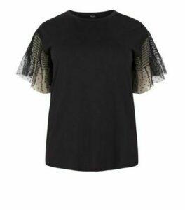 Curves Black Spot Mesh Sleeve T-Shirt New Look
