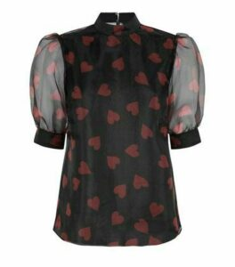 Black Heart Organza Puff Sleeve Blouse New Look