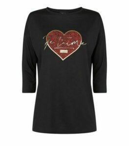 Black Heart Je T'Aime Slogan T-Shirt New Look