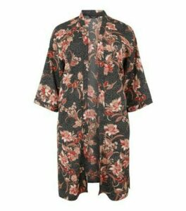 Curves Black Floral Long Kimono New Look