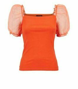 Bright Orange Puff Organza Sleeve Top New Look