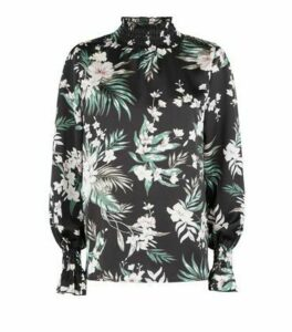 AX Paris Black Floral High Neck Satin Top New Look