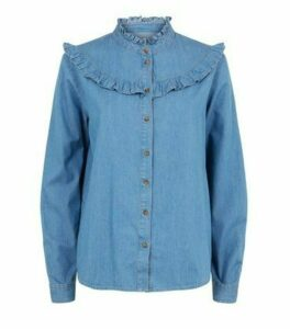 JDY Bright Blue Frill Denim Shirt New Look