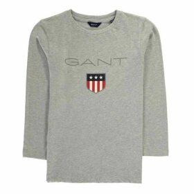 Gant Shield Logo Long Sleeve T Shirt - Light Grey 94