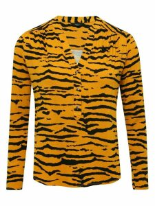 Women's Ladies petite tiger print jersey shirt with long sleeve notch neck slim fit