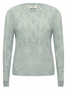 Women's JDY ladies pale blue diamond crochet knit jumper long sleeves crew neck