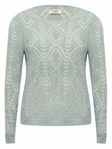 Women's JDY ladies pale blue diamond crochet knit jumper long sleeves crew neck