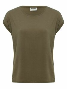 Women's Vero Moda ladies khaki plain t-shirt short cap sleeves scoop neck loose fitting