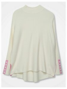 Women's Ladies Khost Jumper in cream with button sleeve trim