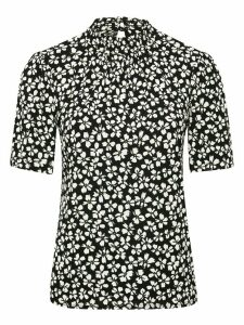 Women's Ladies daisy print shirred high neck top