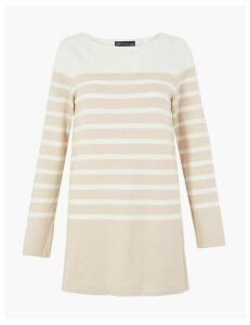 M&S Collection Pure Cotton Striped Longline Sweatshirt