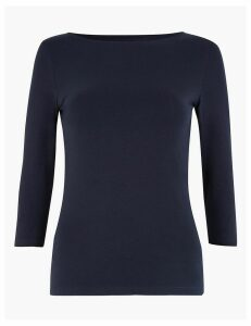 M&S Collection Cotton Rich 3/4 Sleeve Fitted T-Shirts