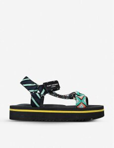 Olivia mixed print canvas flatform sandals