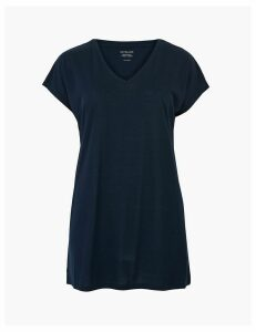 M&S Collection V-Neck Relaxed Longline T-Shirt