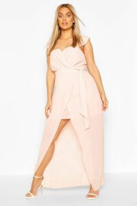 Womens Plus Occasion Pleated Wrap Midi Dress - Pink - 26, Pink