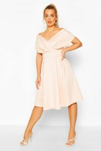 Womens Plus Off The Shoulder Wrap Midi Dress - Pink - 24, Pink
