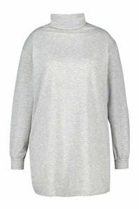 Womens Plus Roll Neck Oversized Sweat Dress - grey - 20, Grey
