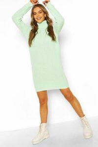 Womens Roll Neck Jumper Dress - Green - M, Green