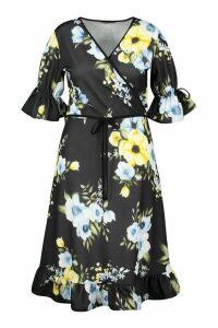 Womens Plus Floral Wrap Ruffle Midi Dress - Black - 26, Black