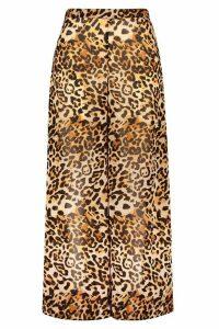 Womens Plus Beach Leopard Print Trouser - Brown - 20, Brown